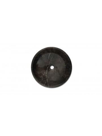 Okrągły zlew wykonany z Grigio Imperiale
