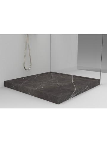 Brodzik w pudełku z Grafite (Pietra Grey) Marmurowy Odpływ