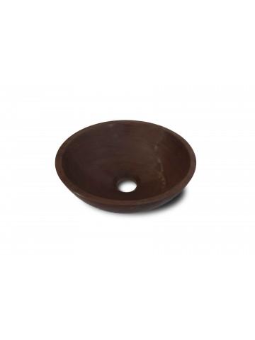 Okrągły zlew wykonany z Rouge Griotte